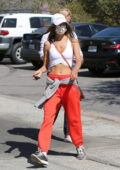 Alessandra Ambrosio shows off her perfect abs while enjoying a hike with a friend in Santa Monica, California