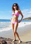 Blanca Blanco seen wearing a pink bikini as she enjoys a day at the beach in Malibu, California