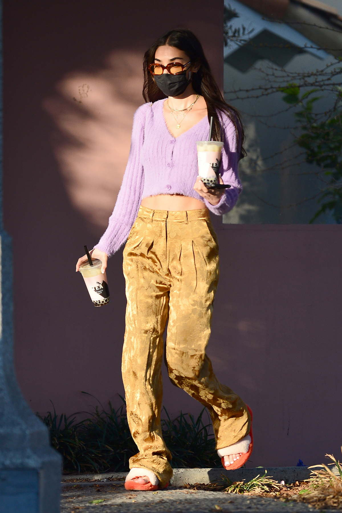 Chantel Jeffries flashes her toned midriff as she leaves Alfred's in West Hollywood, California
