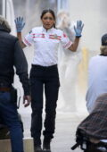 Eiza Gonzalez and Jake Gyllenhaal spotted filming an intense action scene for 'Ambulance' in Los Angeles