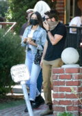 Eiza Gonzalez looks cool in double denim as she grabs lunch with a friend at Alcove Cafe in Los Angeles