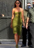 Eiza Gonzalez looks stunning in a form-fitting green dress as she arrives at Jimmy Kimmel Live Studios in Los Angeles