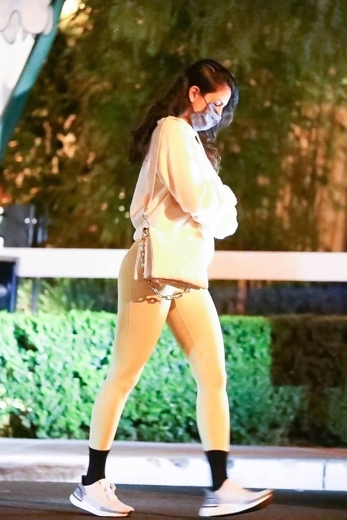 Eiza Gonzalez opts for a hoodie and leggings during a dinner outing in Los Angeles