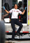 Eiza Gonzalez spotted in her EMT uniform while filming on the Set of 'Ambulance' in Los Angeles