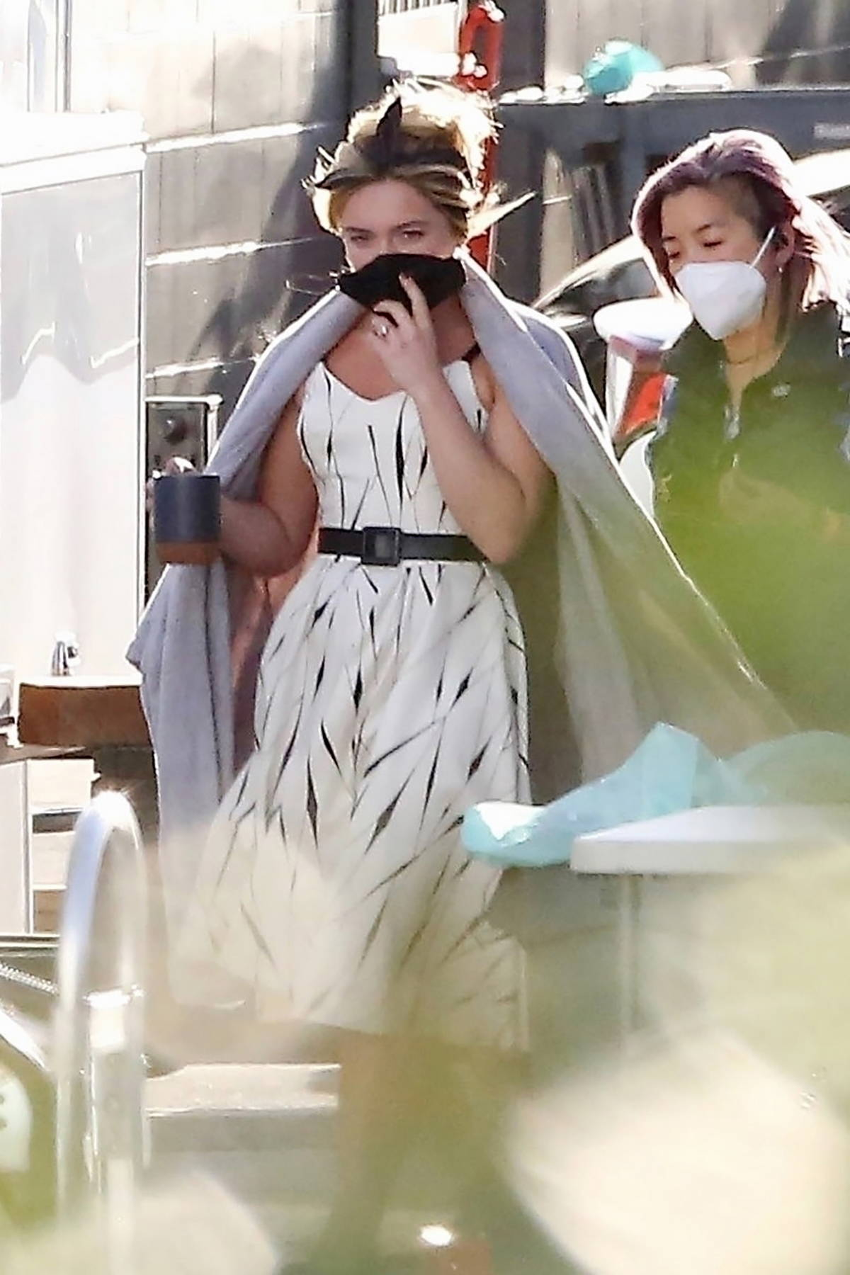Florence Pugh spotted between takes on the set of 'Don't Worry Darling' in Los Angeles