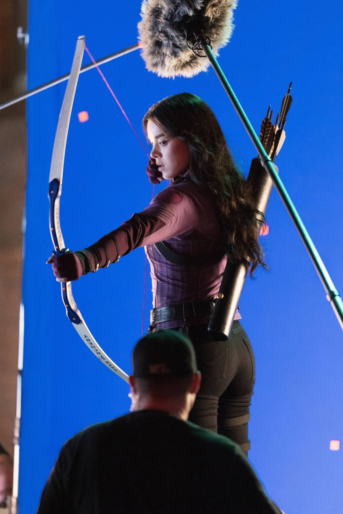 Hailee Steinfeld seen shooting from a rooftop for 'Hawkeye' in Atlanta, Georgia