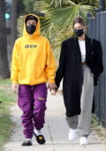 Hailey Bieber and Justin Bieber head out together on Justin's huge tour bus in Los Angeles