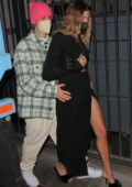 Hailey Bieber flashes her legs while she and Justin Bieber leaves dinner at Catch in West Hollywood, California