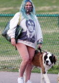 Hilary Duff spotted in an 'Elvis' sweatshirt and legging shorts as she walks her dog at a park in Los Angeles