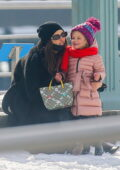 Irina Shayk seen having a laugh while sitting by the Hudson river with her daughter in New York City