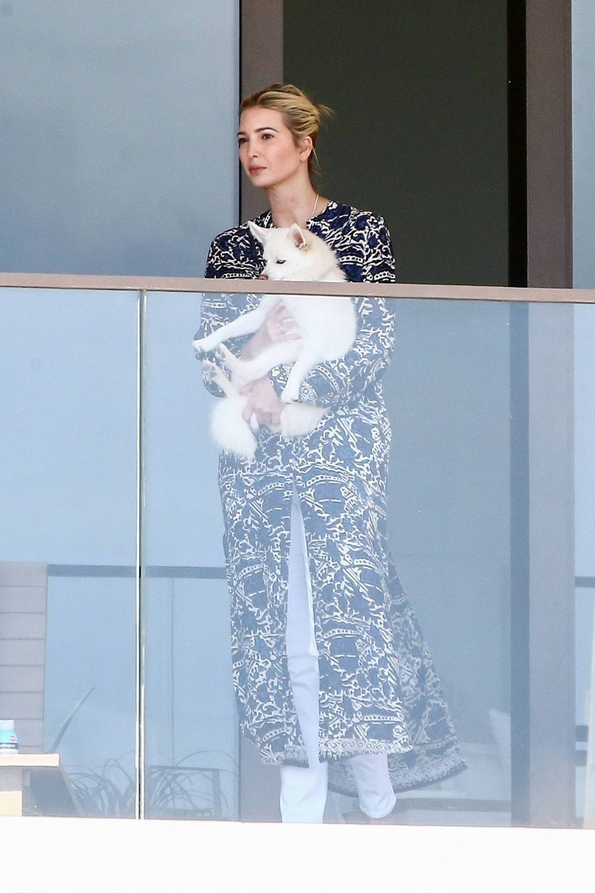 Ivanka Trump seen chilling with her dog on the balcony of her apartment in Miami Beach, Florida