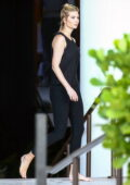 Ivanka Trump spotted in a black tank top and leggings while enjoying an afternoon by the pool in Miami, Florida