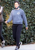 Jennifer Garner keeps it casual as she takes a morning walk with a friend in Brentwood, California