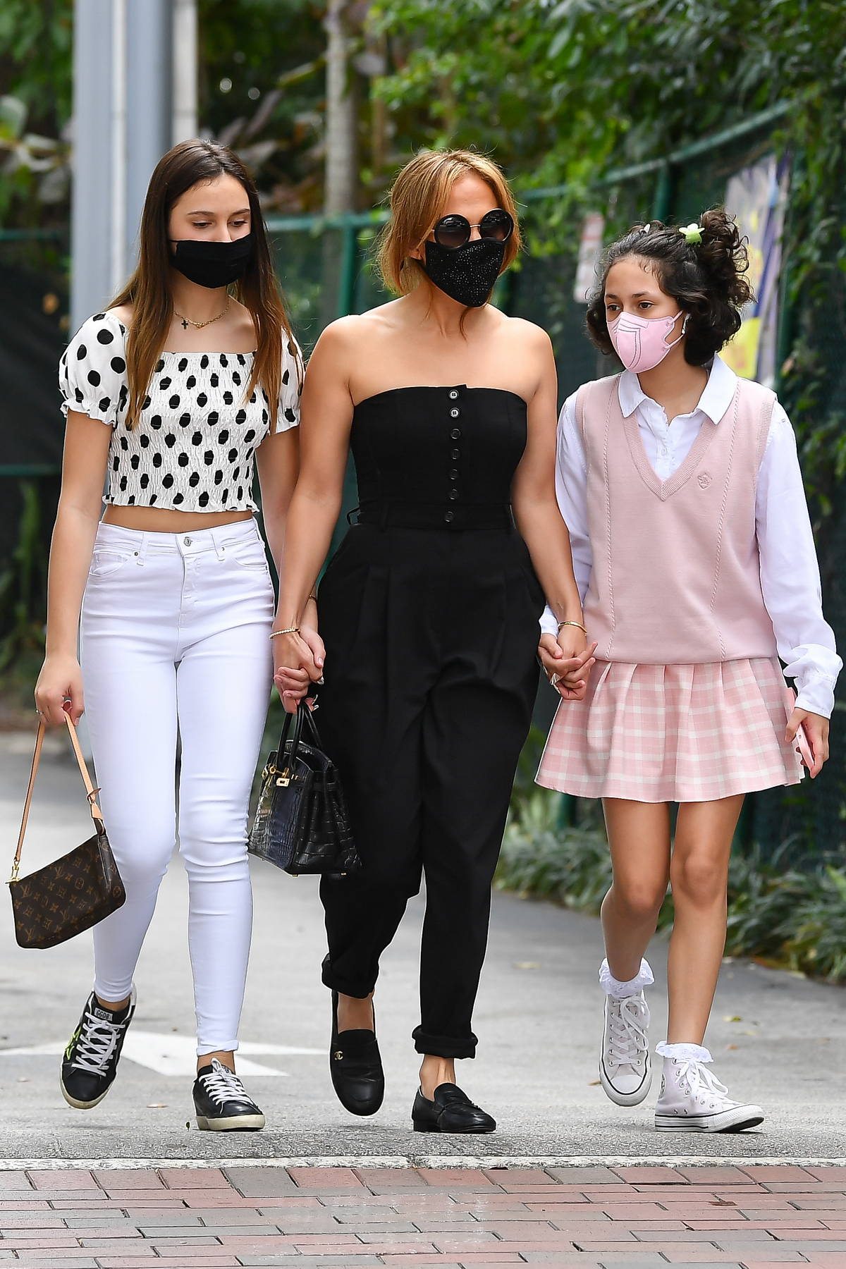 Jennifer Lopez and Alex Rodriguez take their daughters to lunch at Greenstreet in Miami, Florida
