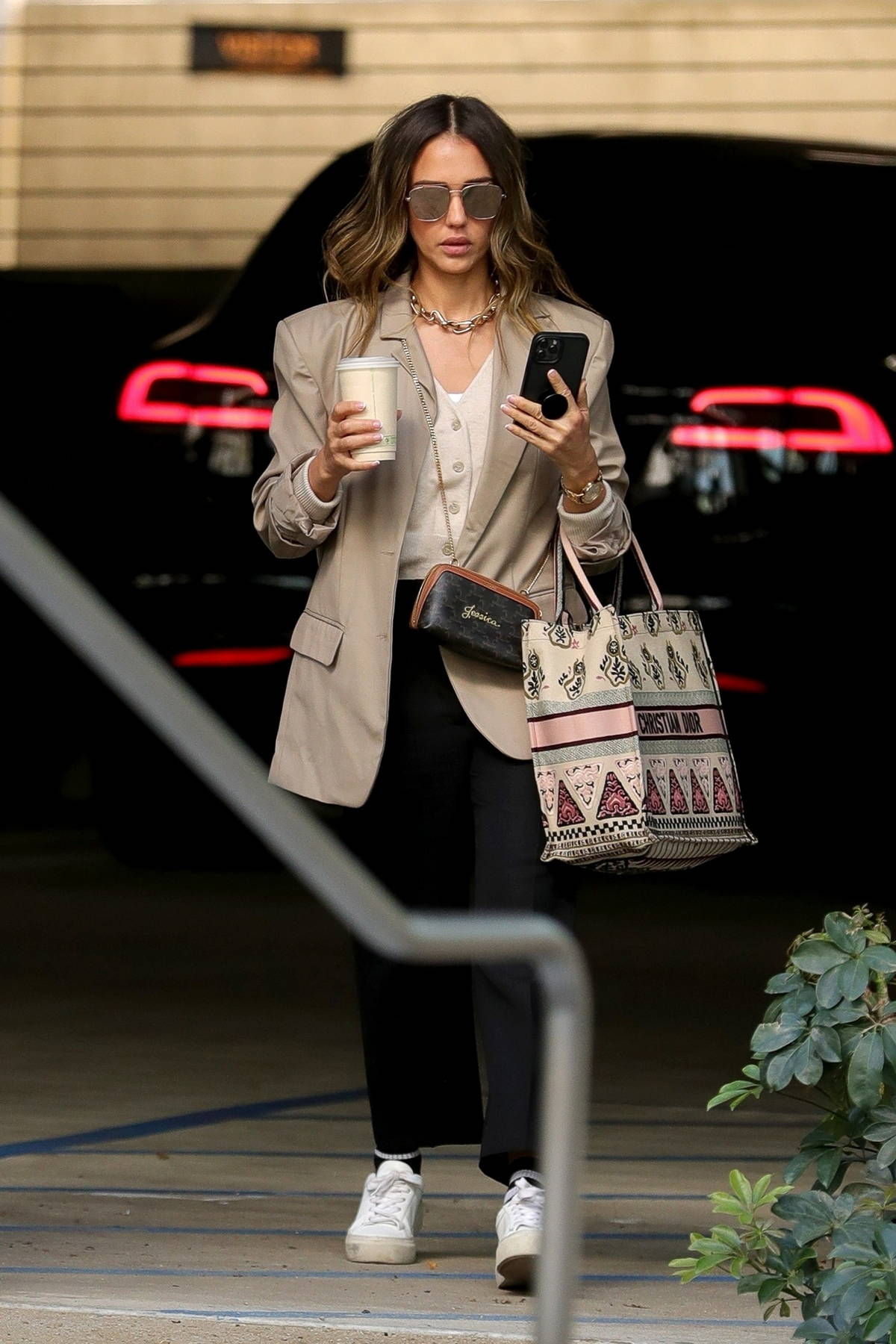 Jessica Alba looks stylish in a beige blazer as she arrives at her office in Los Angeles