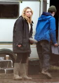 Jodie Comer spotted filming scenes in a caravan for the new Channel 4 drama 'Help' in Cheshire, UK