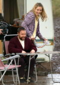 Jodie Comer spotted filming with Stephen Graham for a Covid 19 drama 'Home' outside a caravan in Liverpool, UK
