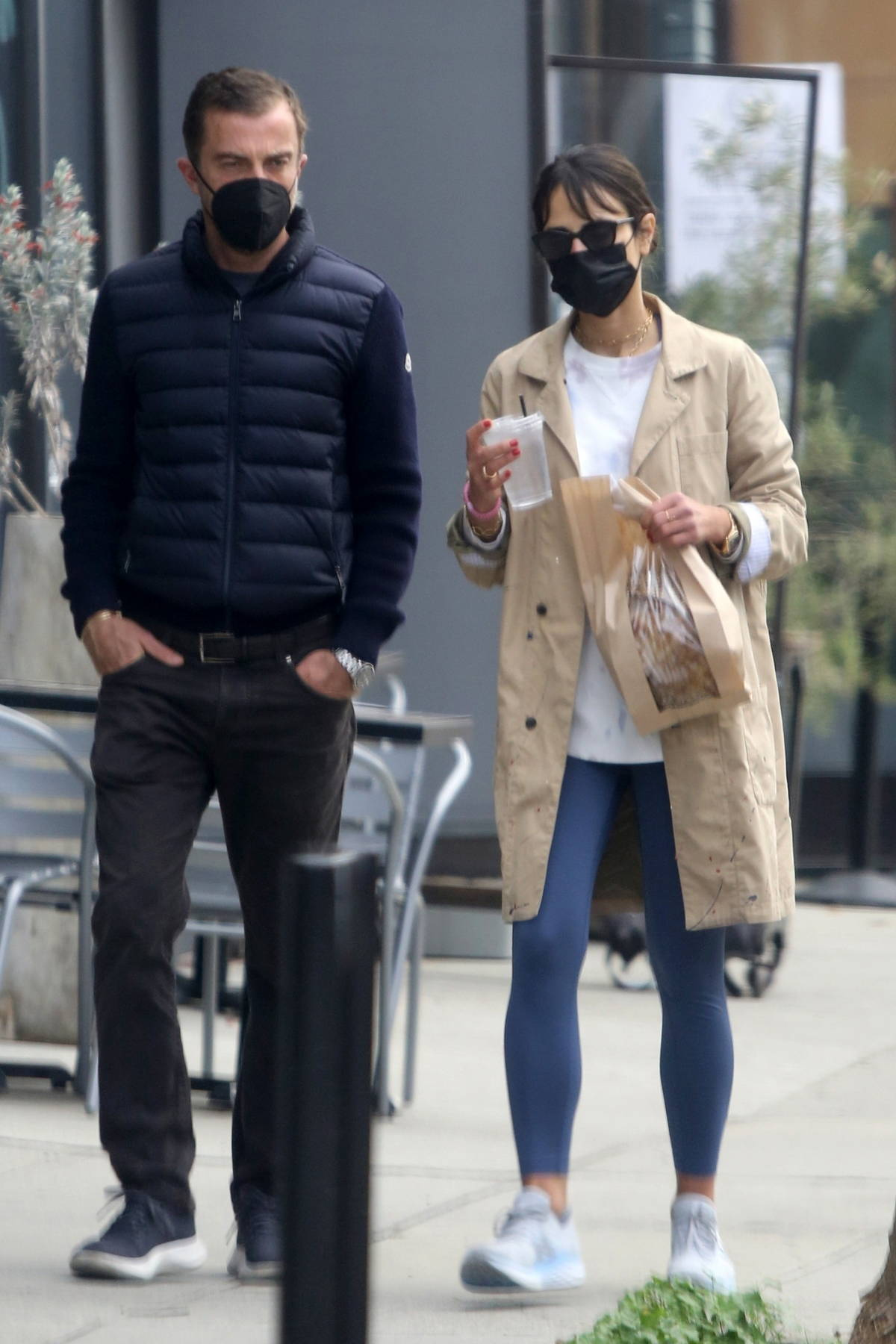 Jordana Brewster and boyfriend Mason Morfit stop by Milo and Olive in Brentwood, California