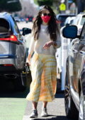 Jordana Brewster treats her dog with a new toy while out for some shopping in Brentwood, California