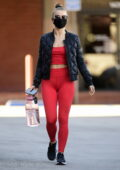 Julianne Hough looks sporty in red crop top and leggings while making a grocery run at Whole Foods in Los Angeles