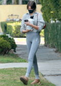Kaia Gerber looks fit in grey leggings with matching cropped sweater as she leaves a private Pilates session in West Hollywood, California