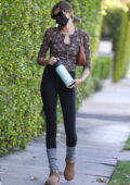 Kaia Gerber sports a floral print full-sleeves top and leggings for her Pilates class in West Hollywood, California
