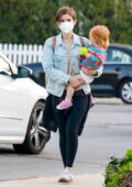Kate Mara shows off her new short hair as she takes her daughter to the park in Silver Lake, California