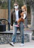Kate Mara takes her daughter for a stroll at Descanso Gardens in La Canada, California
