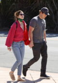 Katherine Schwarzenegger and Chris Pratt hold hands as they step out for a walk on Valentine's Day in Santa Barbara, California
