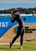 Kathryn Newton competes in the AT&T Pebble Beach Pro AM golf tournament in Pebble Beach, California
