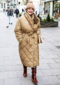 Kelly Brook keeps cozy in a warm jacket while arriving at the Global Radio Studios in London, UK