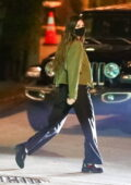 Kendall Jenner cuts a casual figure during a dinner outing with friends in Los Angeles