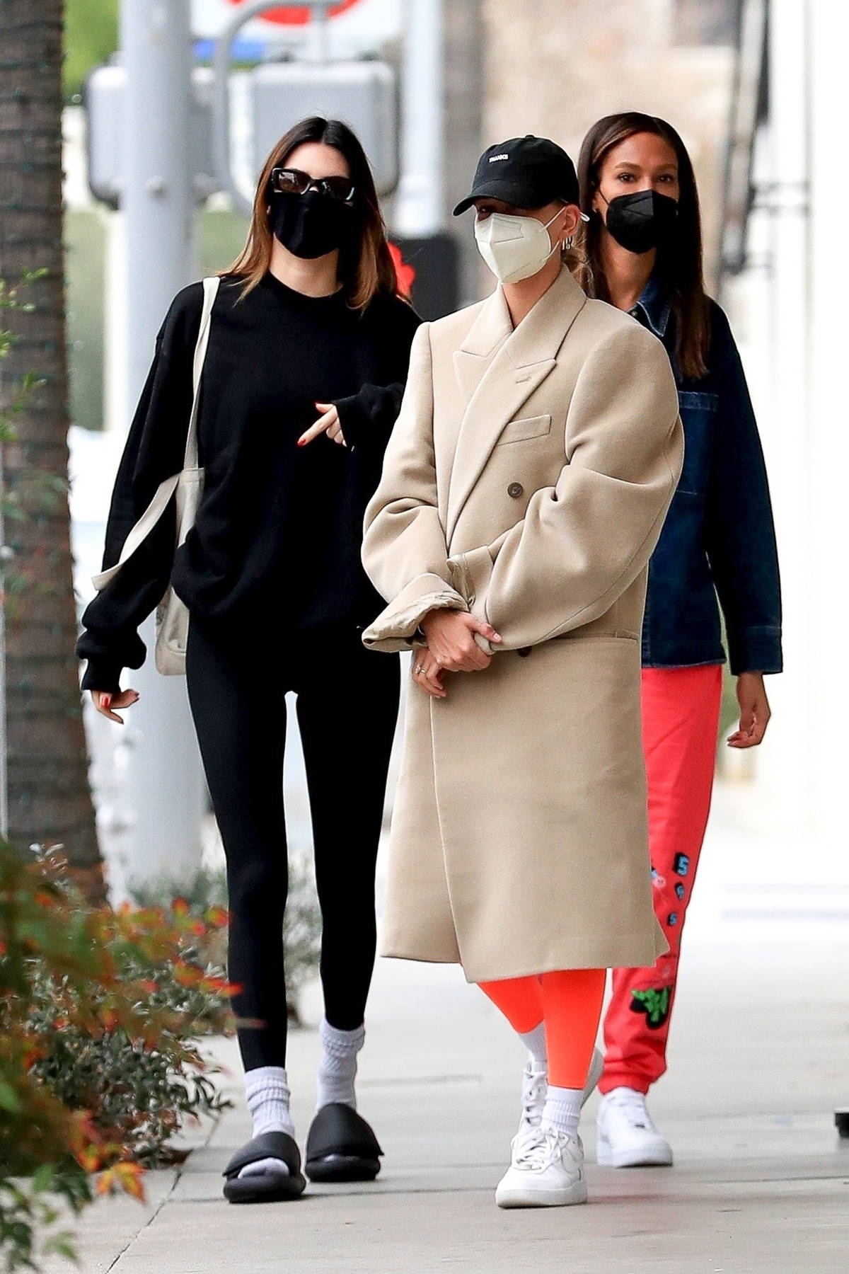 Kendall Jenner, Hailey Bieber, and Joan Smalls grab a bite to eat in West Hollywood, California