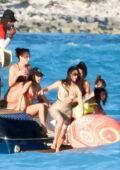 Kim Kardashian and Kourtney Kardashian seen enjoying a beach trip with their daughters in Turks and Caicos