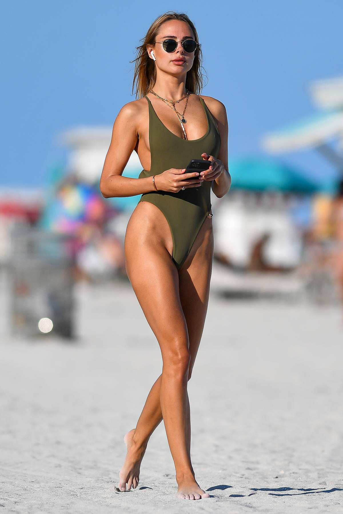 Kimberley Garner shows off her flawless figure in an olive green swimsuit in Miami Beach, Florida