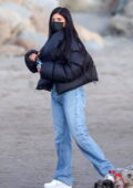 Kylie Jenner and Travis Scott seen playing on the sand with their daughter in Santa Barbara, California