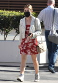 Lucy Hale looks cute in a short red dress and white jacket as she leaves a business meeting in Los Angeles