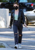 Lucy Hale rocks a black leather jacket and black jeans while making a coffee run in Los Angeles