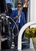 Lucy Hale spotted in a denim shirt and leggings while stopping for gas at a local gas station in Studio City, California