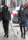 Madelaine Petsch and Camila Mendes step out in the snow to walk their dog in Vancouver, Canada