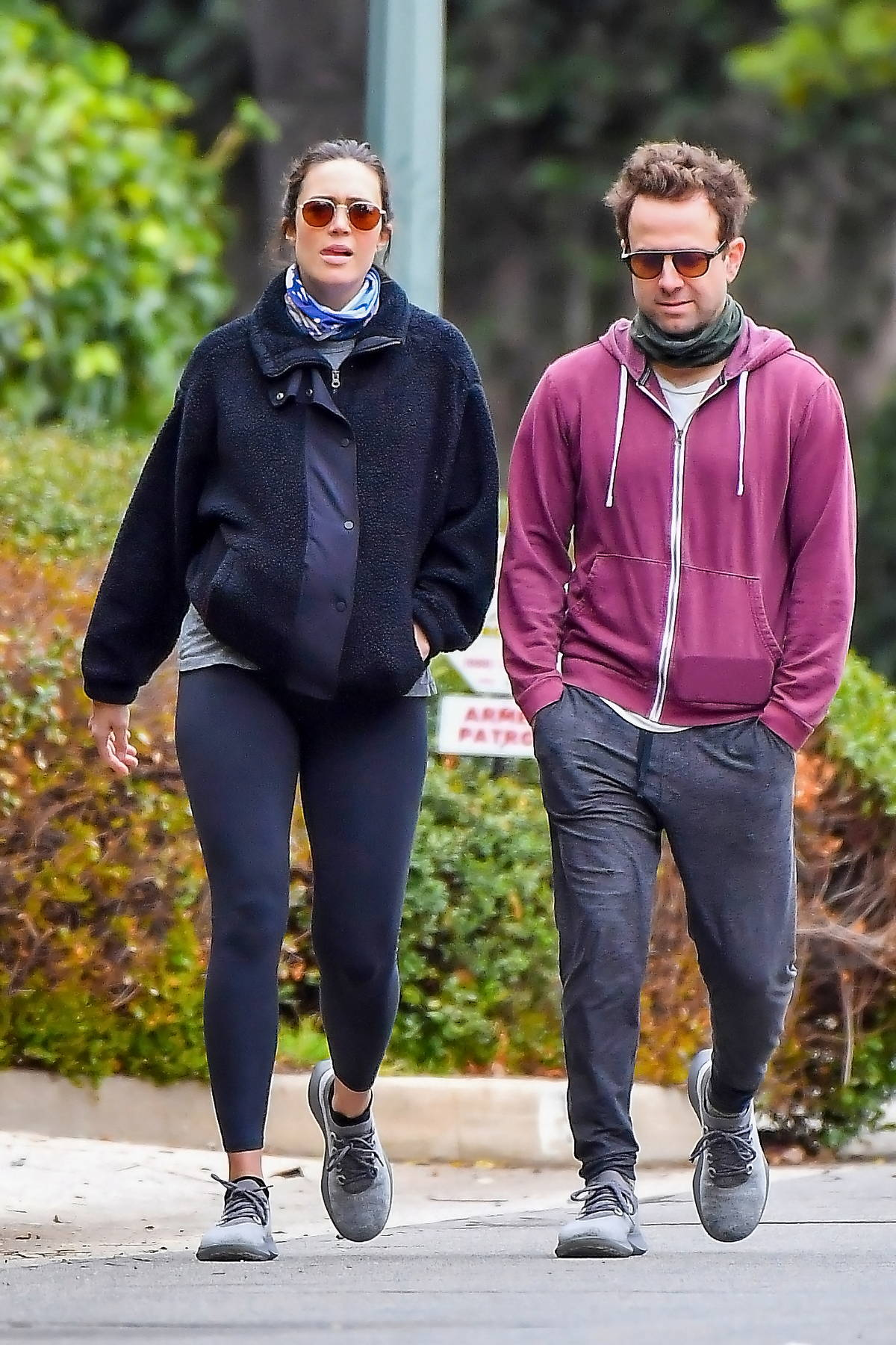 Mandy Moore and Taylor Goldsmith step out on for a stroll around their neighborhood in Pasadena, California