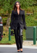 Megan Fox looks super stylish in black leather pants with matching blazer and heels as she heads to a meeting in Los Angeles