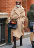 Nicky Hilton looks stylish in a Max Mara coat, brown boots, and a leather hat while out in New York City