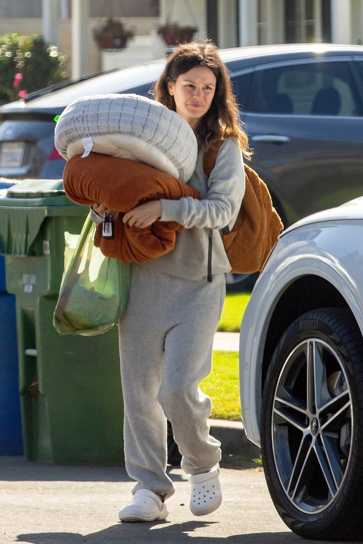 Rachel Bilson keeps cozy in her sweatsuit and crocs as she leaves her mother's house in Los Angeles
