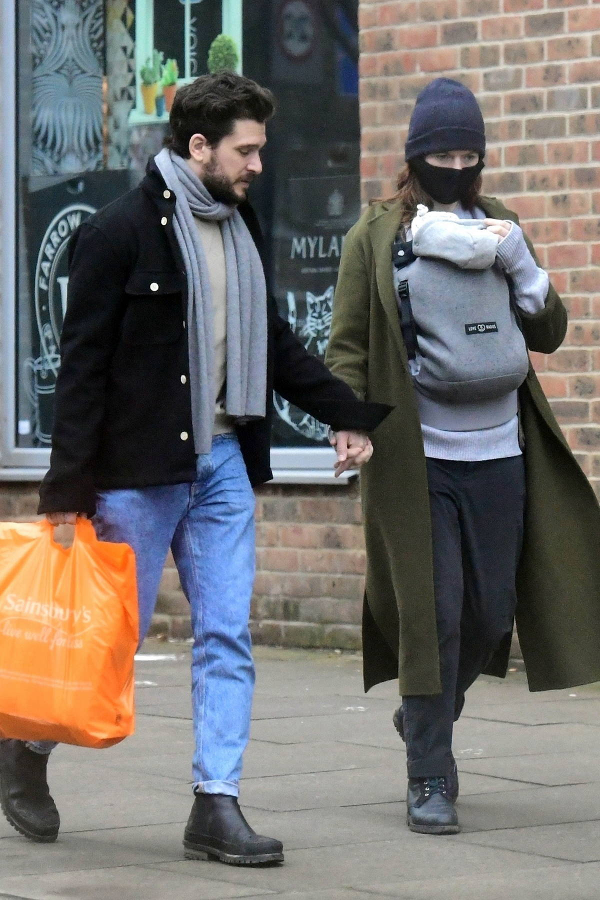 Rose Leslie and Kit Harington seen for the first time out with their newborn baby in London, UK