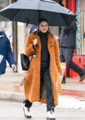 Selena Gomez is all smiles as she takes a quick break while filming 'Only Murders in the Building' in Queens, New York