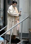 Selena Gomez seen exiting her trailer on the set of 'Only Murders In The Building' in New York City