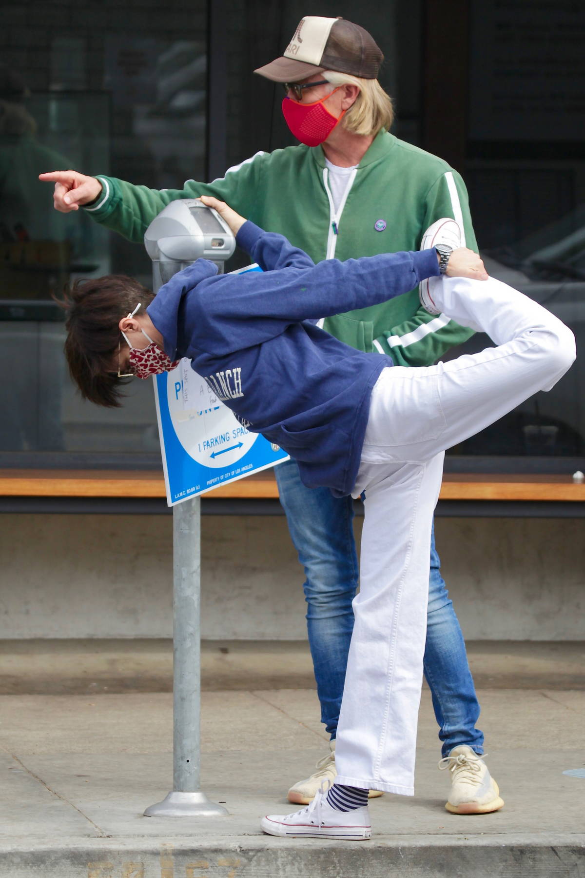 Selma Blair shows off her flexibility while performing stretches during a coffee run in Studio City, California
