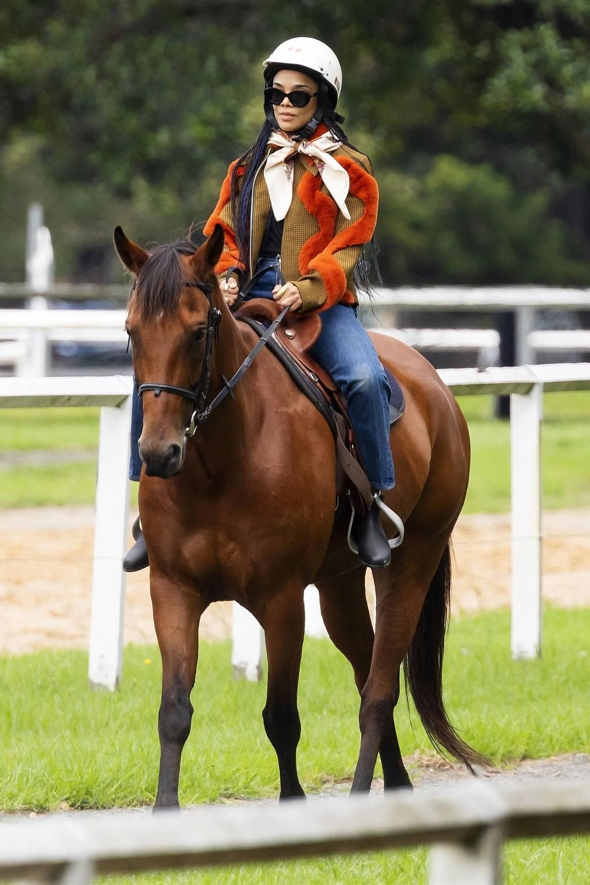 Tessa Thompson takes horse riding lessons at Centennial Park in Sydney, Australia