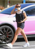 Addison Rae flaunts her legs in black shorts as she arrives for a workout session in West Hollywood, California